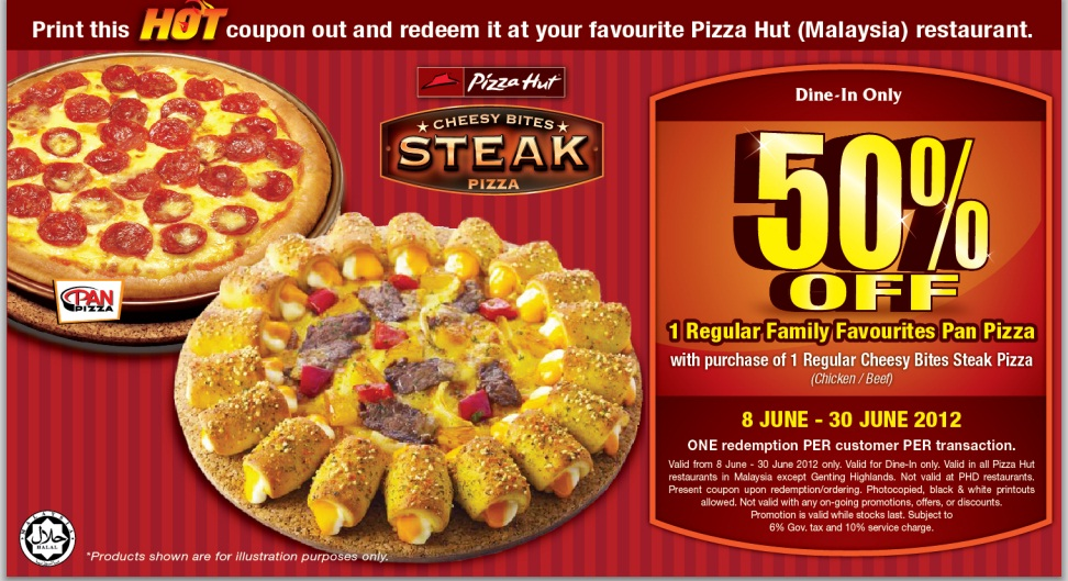 Stuffed Crust and Cheesy Bites are not available with this offer. Offer not valid when dining in Pizza Hut Restaurants, Pizza Hut Express stores, Butlins, Thorpe Park, Jersey, Sidcup, or Republic of Ireland. This list is subject to change. Pizza sizes and toppings included in this offer may vary subject to availability.